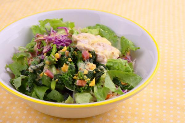 春を感じる菜の花と彩り具材のサラダ
